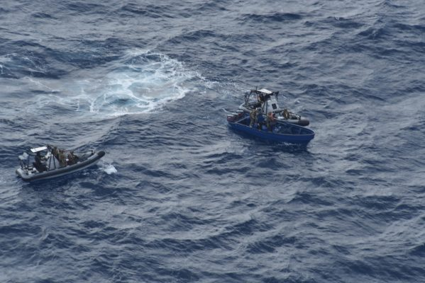 Navy RHIBS approach a suspect boat carrying cocaine