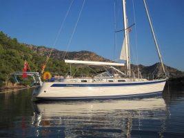 A yacht an anchor under a blue sky