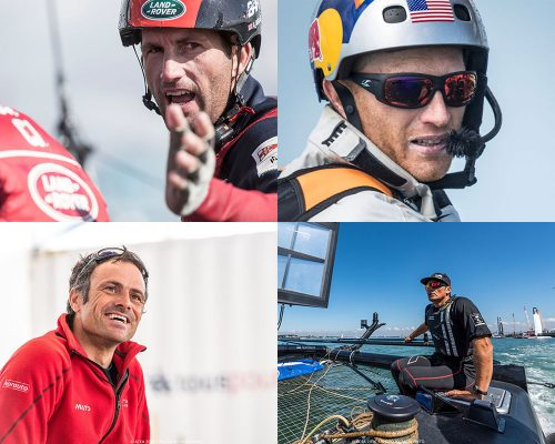 Four of the skippers for the America's Cup