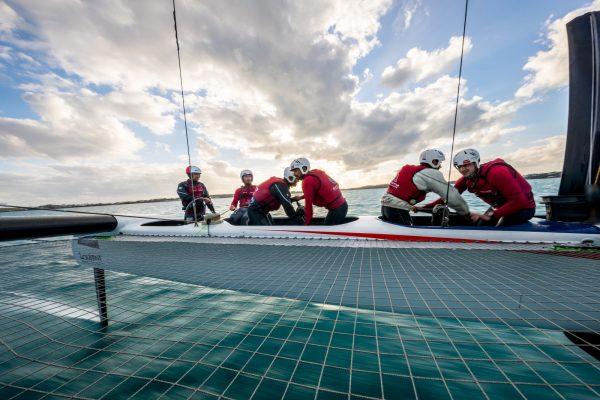 sailors on catamaran