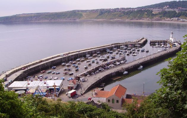 A harbour with boats in at the Yorkshire seaside town of Scarborough