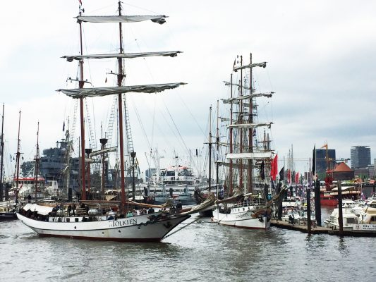 Tall ships at the port of Hamburg for the maritime festival