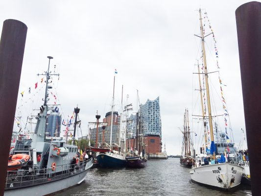 Tall ships in a harbour