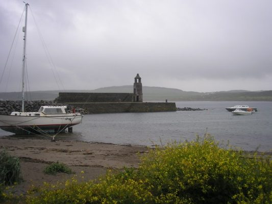 An overcast sky at a Scottish harbour