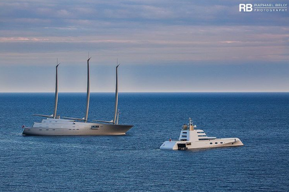 Sailing Yacht A and Superyacht A side by side in Monaco
