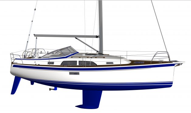 A render of a blue and white Hallberg Rassy 340 yacht