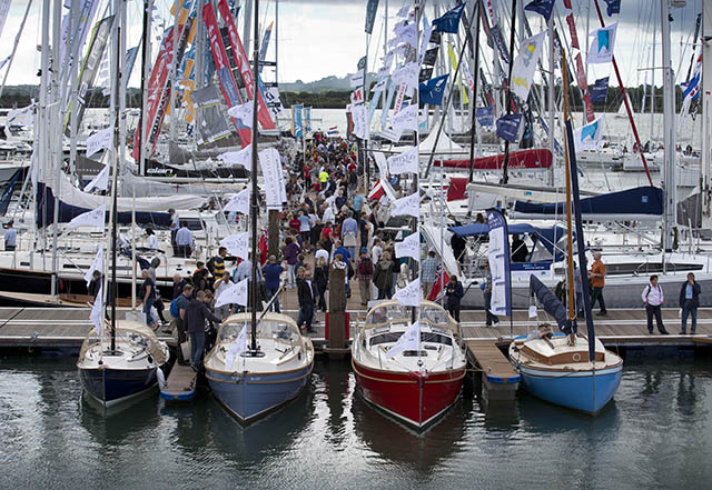Boats moored alongside pontoons at the Southampton boat Show