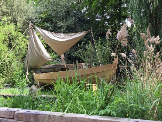 A replica of a boat from the Norfolk Broads takes centre stage at the Chelsea Flower Show