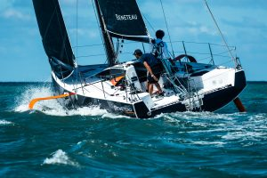 the prototype of the first foiling one design monohull