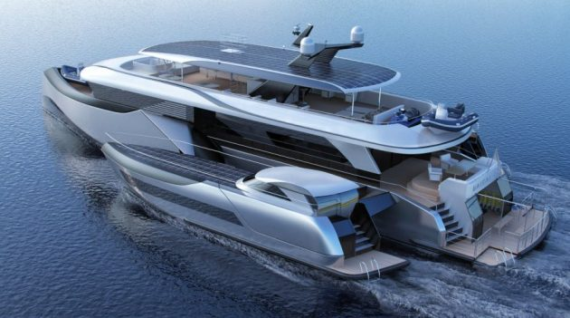Render of a trimaran with a flybridge and solar panels