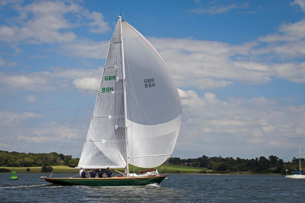 A Spirit 52D in fill sail out on the water