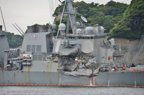 Damage on the destroyer USS Fitzgerald following the collision off Japan