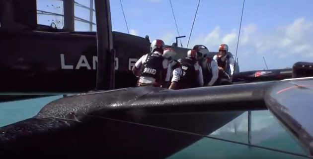 Crash between America's Cup teams SoftBank Team Japan and Land Rover BAR as they push the limits of sailing