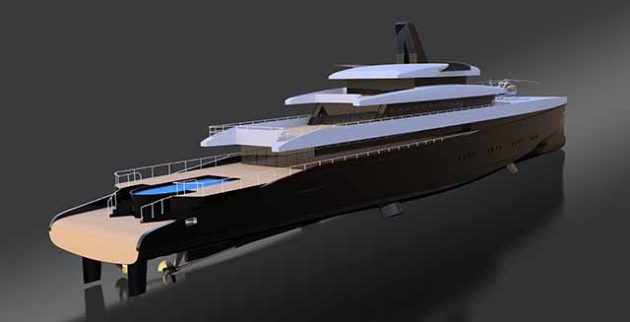 A render of a concept superyacht, HEMY