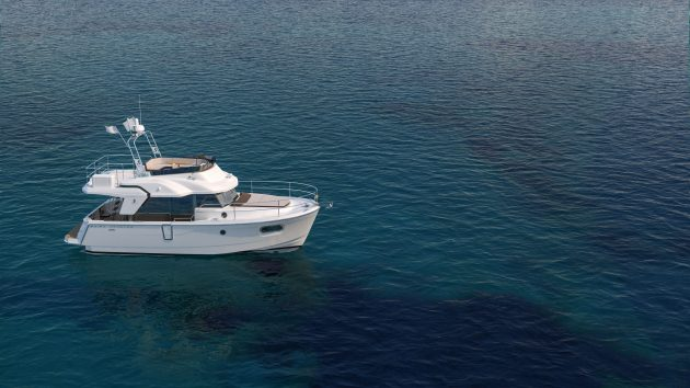 This white Beneteau Swift Trawler 35 will have its world debut at the Southampton Boat Show