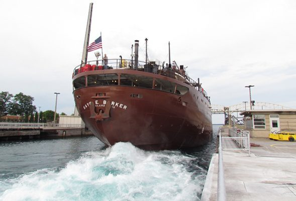 Red hull of the Kaye E Barker which hit a bridge in Green Bay