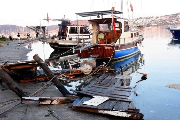 Boats destroyed in an earthquake in Turkey