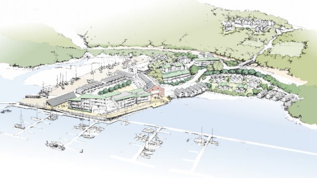 A sketch of the proposed development of Noss-on-Dart marina in Devon