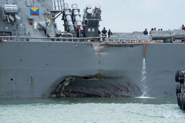 Damaged sustained to a US Navy ship, USS John S McCain