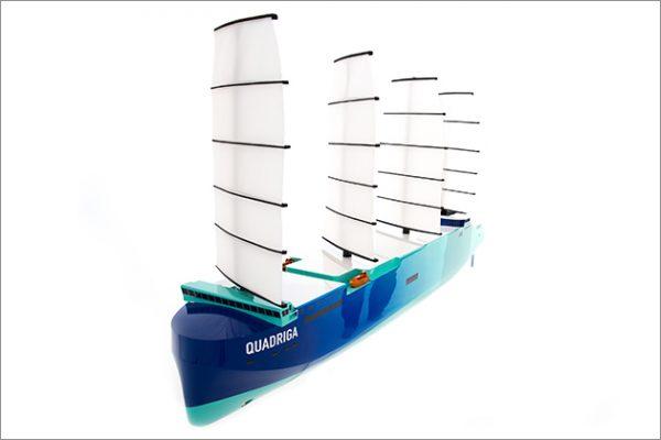 A render of the world's biggest sailing cargo ship - Quadriga