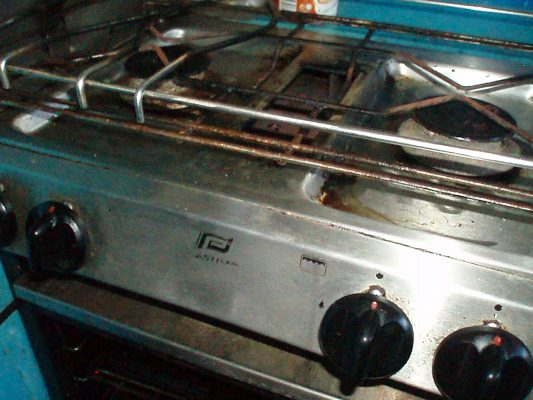 A gas cooker on board a boat
