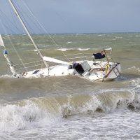 A yacht struggling in heavy seas off Bognor Regis