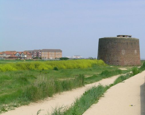 A tower on the sand on the coast of Essex