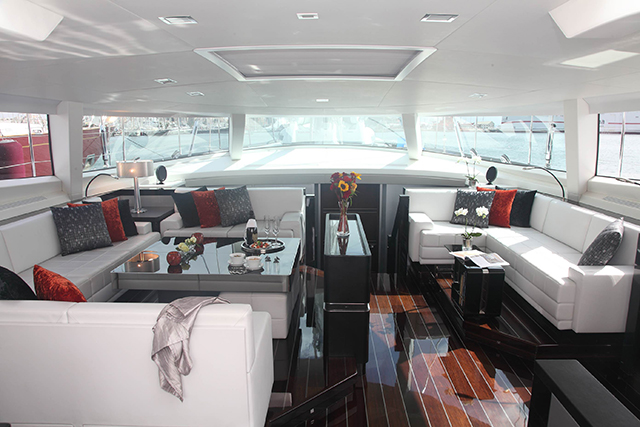 The Saloon In White, Red And Black On Board The Superyacht Bliss
