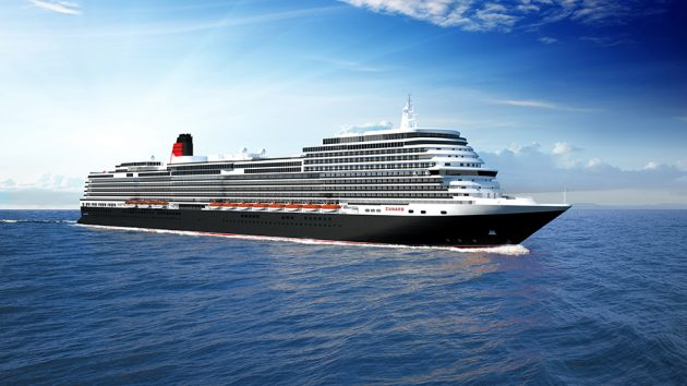 A drawing of a cruise liner to be built for Cunard