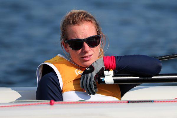 Hannah Mills wearing sunglasses