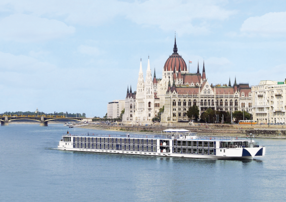 A luxury river cruiser on the River Danube