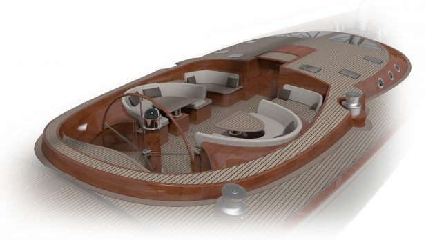 Renders of a yacht cockpit