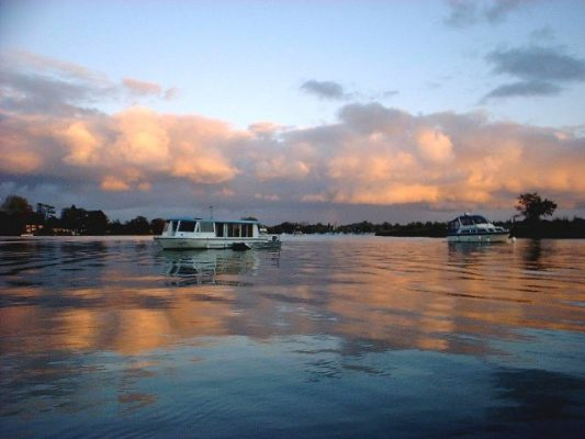 Motor yachts moored on Oulton Broad