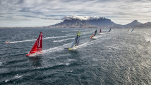 Racing yachts taking part in the Volvo Ocean Race