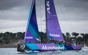 A purple and blue Volvo Ocean Race yacht