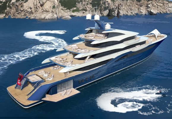 A render of a superyacht by Winch Design