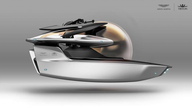 A drawing of the new luxury submarine by Aston Martin and Triton