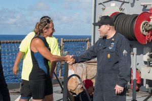 Jennifer Appel shakes USS Ashland (LSD 48) Command Master Chief Gary Wise's hand