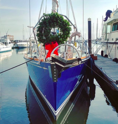 boat decorated for Christmas
