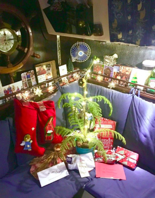 interior of a boat decorated for Christmas