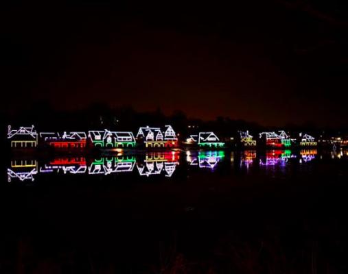 boats with Christmas lights