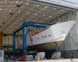 Princess Yachts complete first hull of their largest vessel to date