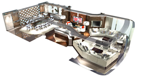 A rendering of the interior of Heesen's recently delivered 65m Galactica Star