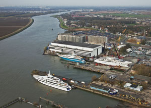 At Oceanco's current base in Alblasserdam in the Netherlands on to two yachts a year are built