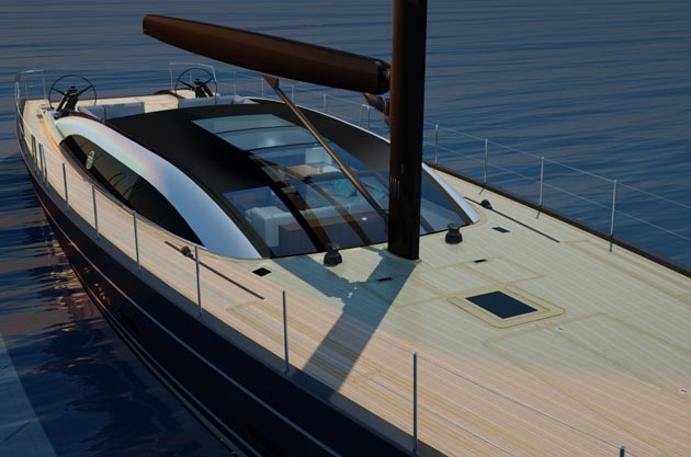 New 39m model features  a newly conceived superstructure that allows sunlight to permates the main deck