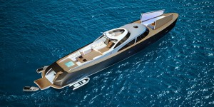 Below the flush foredeck the Rapsody R110 conceals a sports car that can be parked on shore with the help of an integrated crane.