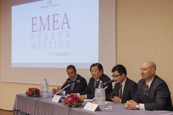 Tan Xuguang (second left) addressing the Ferretti eMeA dealer conference in April. in 2012 shandong Heavy industry Group took 75% of italy's Ferretti Group