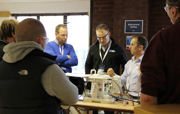 Steve Morris instructs the dealers about Dometic equipment