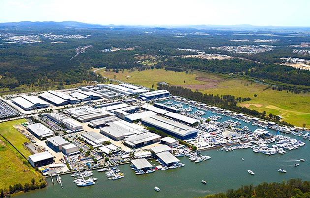 Riviera's $15 million on-water, red-carpet showcase is centrally located within the Gold Coast International Marine Expo, at the Riviera Marina