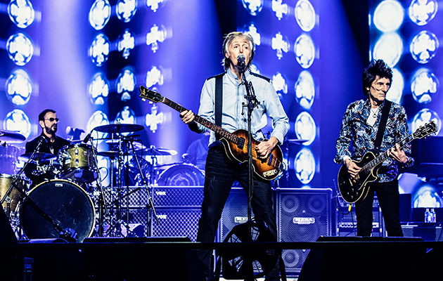 "Watch Paul McCartney play ""Get Back"" with Ringo Starr and Ronnie Wood"